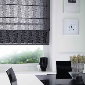 black and white patterned blinds